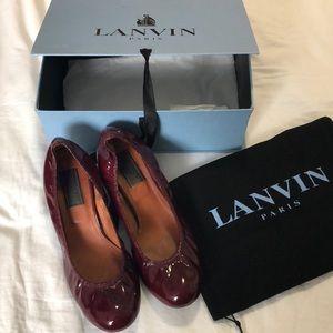 Lanvin Ballet Shoe Bordeaux Patent Leather Sz 41